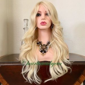 Blonde wig 24 inch long wavy layered heat ok